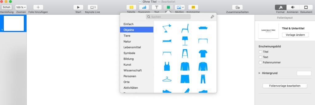 Versteckte Icons für Präsentationen in Keynote finden