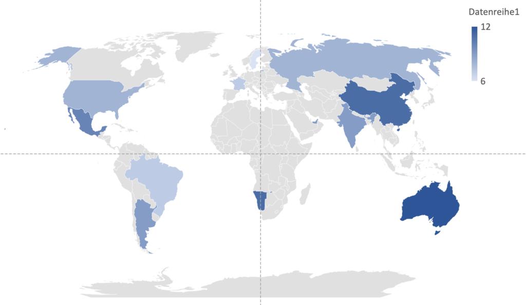 Kartendarstellung für das Veranschaulichen einer geografischen Verteilung.