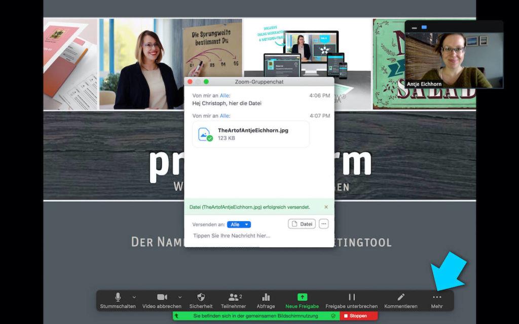 Datei im virtuellen Meeting senden (Zoom)